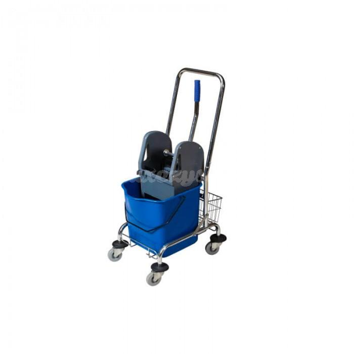 CleanPro Wózek jednowiaderkowy chromowany z prasą 1x23L