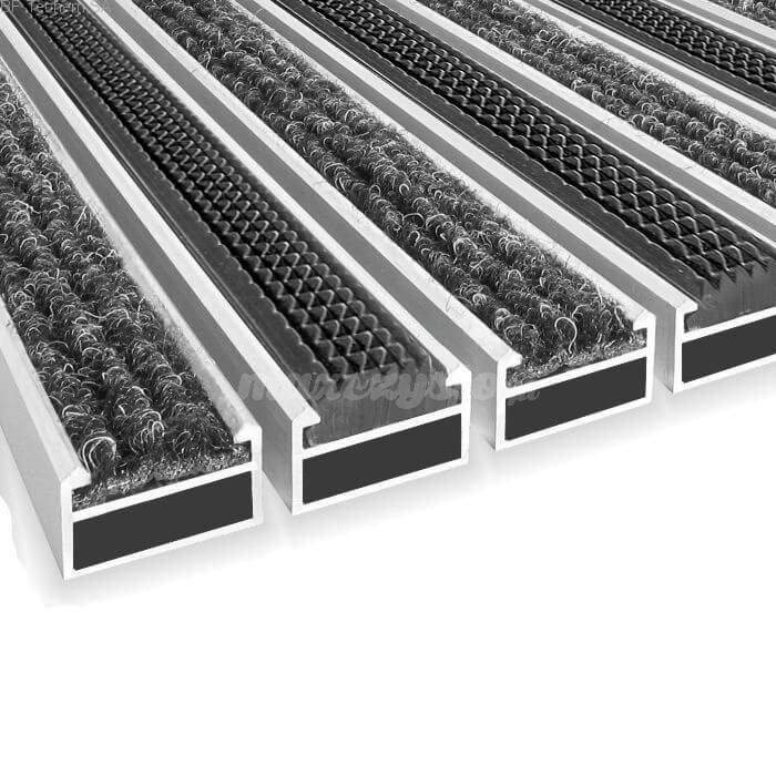 Wycieraczka Aluminiowa Clean ryps - rubber 60 x 90 cm (17mm)